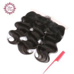Part Side NZ - Slove 8A Brazilian Ear To Ear Lace Frontal Closure 3 Way Part 13x4 Body Wave Virgin Remy Body Wave Human Hair Lace Frontal