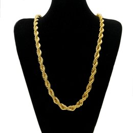 Discount long chain lockets - Hiphop Rock 1CM Crude twist chain Gold Plated Fashion Long Necklace Pendant for Men Women fine Jewelry