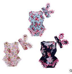 $enCountryForm.capitalKeyWord UK - INS Baby Clothing Sets Print Floral Tassels Rompers Bow Headband Kids Summer Jumpsuits Flower Sleeveless Bodysuits Baby Kids Clothing J305