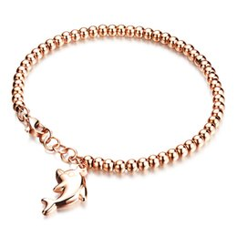 Discount white christmas rose - G4 Jewelry Dolphin Pendant Bracelets Woman's Beaded Stainless Steel Steel Color Rose Gold Plated Cute Girls Jewelry