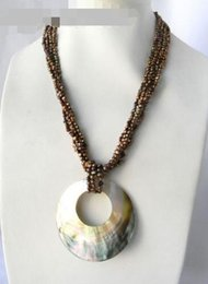 coffee pearl Australia - 4Strands Coffee Baroque Freshwater Pearl Crystal Shell Pendant Necklace
