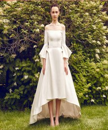 $enCountryForm.capitalKeyWord Canada - Wedding Dresses Vintage Graceful Bateau Short Front Long Back Wedding Dresses Satin Bridal Wear Lantern Sleeve Beautiful A-Line Dresses
