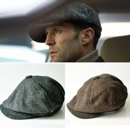 Discount male cap model - Wholesale-Spring Gentleman Octagonal Cap Newsboy Beret Hat For Men's Jason Statham Male Models Flat Caps Outdoors G