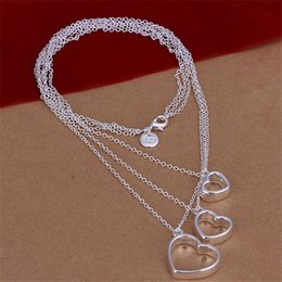 Best Wedding Pendant NZ - best gift Three lines three heart sterling silver plate Necklace fit women,wedding 925 silver pendant Necklace with chains EN038