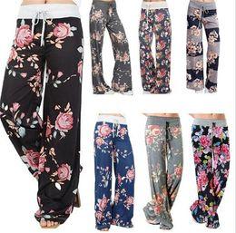Discount ladies drawstring yoga pants - 10pcs 7 designs ladies floral yoga palazzo trousers womens wummer wide leg pants plus size M100