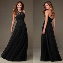 2017 Fashion Little Black Bridesmaid Dresses A Line Halter Neck Appliques Beaded Long Gowns Wedding Guest Holiday