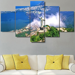Painting Christ Canada - 5 Pcs Set Framed HD Printed Christ The Redemeer Rio De Janeiro Wall Art Pictures For Living Room Home Decor Canvas Painting