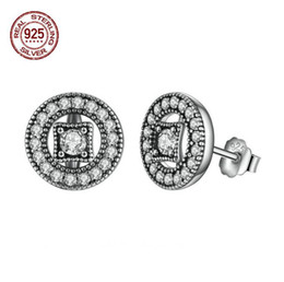 Allure Vintage Pas Cher-Fashion Authentic Real 925 Sterling Silver Vintage Allure Clear CZ Stud Earrings Femmes Bijoux de mariage 2017 July Style