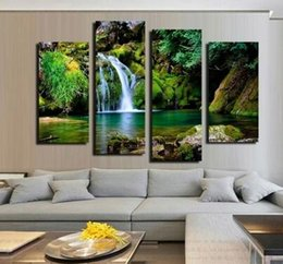 Unframed 4 Panel Waterfall And Green Lake Large HD Picture Modern Home Wall Decor Canvas Print Painting For House Decorate Art Pa