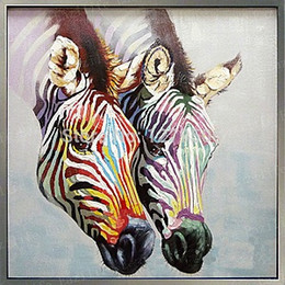 colourful art paintings 2020 - Framed Colourful Zebra Animal,Pure Hand Painted Modern Wall Decor Pop Colourful Animal Art Oil Painting High Quality Can