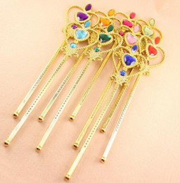 Barato Traje De Fantasia De Ouro-Princess Heart Wand Fairy Angel Magic wands Party Goody Bag Favor Fantasia Dress Up Costume adereços Plastic Gem Gold Sticks Hot Gift
