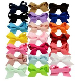 Korea Child Hair Canada - 20 colors Children bowknot hairpin Korean girls hair ornaments solid color side clip jewelry Japan and South Korea card 647