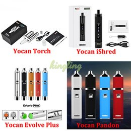 Torch vapor online shopping - Yocan Evolve Plus Pandon Pen Starter Kits Yocan iShred Torch E cigarettes mAh mAh Battery of Wax Vaporizer Dry Herb Vapor Tanks