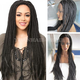 kinky hair for braiding Australia - High Quality Black Color Kinky Braiding Hair Synthetic Lace Front Wig for Black Women Free Shipping