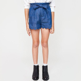 Arc Décontracté Pour Enfants Pas Cher-Autumn 2017 Teenager Denim Pants Junior Mode Bow Shorts Big Kids Girls Casual Loose Trouser Vêtements bébé