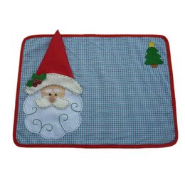 santa claus placemats NZ - 1 Set New Christmas Placemats With Napkin Santa Claus Plaid Placemats Eat Mat Dinner Table Decoration For Home Kitchen Table Pad