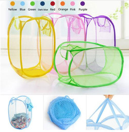 $enCountryForm.capitalKeyWord Canada - Nylon Mesh Fabric Laundry Storage Basket For Toy Washing Basket Dirty Clothes Sundries Basket Box Foldable