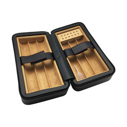 Black cohiBa leather online shopping - Latest version New COHIBA portable Wooden Lining Black color Leather Cigar Humidor Tube Travel Cigar Case with Humidifier