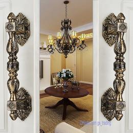 2pcs classic antique bronze european zinc alloy villa archaize wooden door hotel glass door handle steel pull door knob hardware accessories