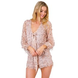 2d00a091841 Women Sequins Bodysuit Plunge Neck Long Sleeve Casual Romper Zipper Back  Solid Gold Sexy Boho Elegant Playsuit