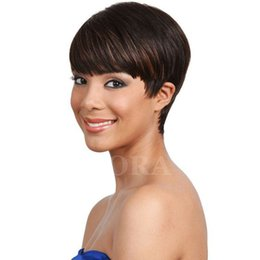 Short Human Hair Wig Sale UK - Cheap short Lace wig African Brazilian Human hair wig for black women celebrity wig indian lace wigs sale Malaysian human hair lace wigs