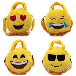 $enCountryForm.capitalKeyWord Australia - Emoji Plush Bags Cartoon 7.48inch Mini handbags Smiley bag Round emoji Snack bags Emoji Plush Toys Xmas gift