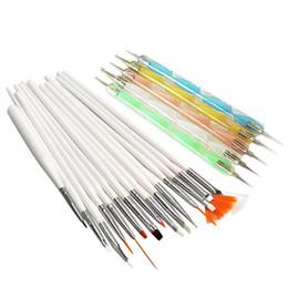 Discount professional art kits - Wholesale- New 20pcs Art Design Painting Tool Pen Polish Brush Set Kit Professional Nail Brushes Styling Nail Art Tools