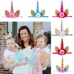 Accesorios Princesa Traje Baratos-Oro Unicornio Cuerno Kids Headband Floral Glitter Party Costume Orejas para el bebé Accesorios para el Pelo Princesa Birthday Party Halloween Hair Band