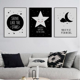 $enCountryForm.capitalKeyWord NZ - Abstract Starry Motivation Moon Star Quotes A4 Art Poster Print Wall Picture Canvas Paintin Nordic Kids Room Deco No Frame Gifts