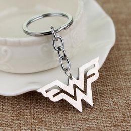 Movie Steel NZ - Movie Jewelry DC Comics Wonder Woman Logo Keychain Stainless Steel Keychain