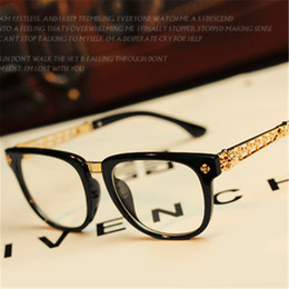 Discount myopia glasses male eyeglasses frame - Wholesale- Vintage Luxury Eye Glasses Frames Women Men Eyeglasses Female Male Computer Degree Optical Myopia Spectacle F