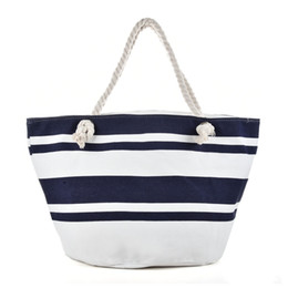 Grand Sac De Plage Blanc Pas Cher-Canvas Sac de plage Noir Blanc Large bouche Stripes Light type Zipper Femme Sac à main Ladies Sea Travel Bag Sacs à bandoulière décontracté Fourre-tout Tote QQ2148