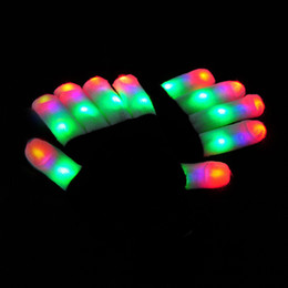Ingrosso Guanti Flash LED Five Fingers Light Ghost Dance Black Bar Stage Performance colorato Rave Light Finger Guanti Glow Lampeggiante