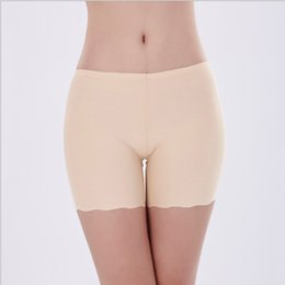 White Shorts Canada - Women safety short pants Natural ice silk seamless Healthy Half length shorts femme dentelle white black nude underwear
