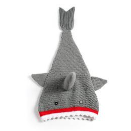 $enCountryForm.capitalKeyWord UK - 5pcs lot Childrens Shark Tail Blankets Mermaid Tail kids Sleeping Bags Wraps Cocoon baby blanket Warmer Knit Blankets Wholesale