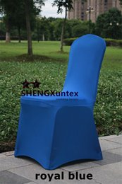 Blue Spandex Chair Canada - Flat Front Wedding Spandex Chair Cover \ Banquet Lycra Chair Cover - Royal Blue Color