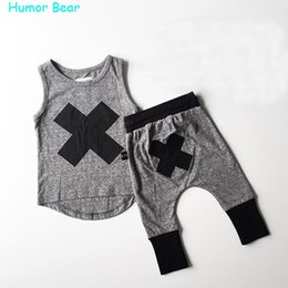 Baby Winter Bear Suits NZ - Wholesale- Humor Bear 2016 baby Boys girls clothes Casual Clothing Sets Children's Suit sleeveless Blouse+Haroun pants Summer kids set