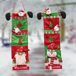 welcome door decorations 2020 - 20*70cm Santa Claus Christmas House Door Decoration Hangings Snowman Hanger Welcome Signs Merry Christmas Tree Ornament