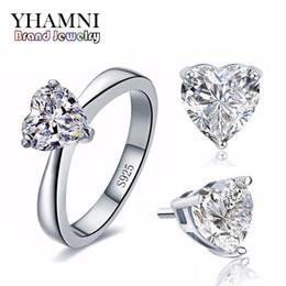 YHAMNI Conjuntos de joyería de boda nupcial original para mujeres Real 925 plata esterlina corazón CZ Diamond Stud pendientes anillo de joyería nupcial TZ002