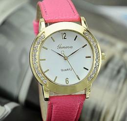 Geneva Watches Blue Canada - Men Women Crystal Geneva watch fashion Diamond gold case quartz watch women geneva famous brand casual Leather watches