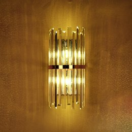 gold wall lighting NZ - k9 crystal wall sconce bedroom wall lamp with switch livingroom dining bedroom led wall light Conference Hall hotel gold crystal lamps