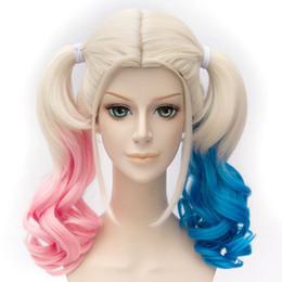 Опт MCOSER популярные 50 см вьющиеся цвет смешанный самоубийство отряд Харли Квинн синтетические высокое качество Лолита косплей полный парик
