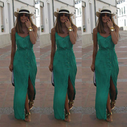 Maxi Long Été Plage Sundresses Pas Cher-Vente en gros - Sexy Women Summer Chiffon Robes Long Maxi BOHO Evening Party Solid Dress Robes de plage Sundress