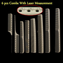 y hair 2019 - Wholesale- Professional Hairdressing Cut Comb 6 pcs For Barber Unbreakable Hair Cutting Comb Y-8 With Laser Measure Scal