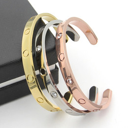 Wholesale hot sale New style silver rose k gold plated L titanium steel open love screw bangle bracelet for men couple woman come with dust bag