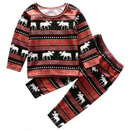 christmas clothes NZ - Christmas Family Matching Pajamas deer printed Kids fashion clothes baby girls boys Nightwear Cotton top+pant 2-piece outfits kid XMAS wear