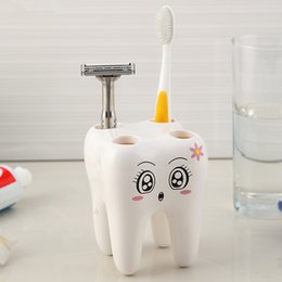 plastic toothbrush stands 2019 - Wholesale- Cartoon Toothbrush Holder,Teeth Style 4 Hole Stand Tooth Brush Shelf Bathroom Accessories Sets,Bracket Contai