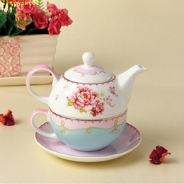 teapot one Canada - Creative rose ceramic teapot cup and saucer new bone china nocturne china teapot sets with cup for one person
