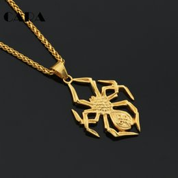 $enCountryForm.capitalKeyWord Canada - CARA New Arrival top quality mens and womens necklace jewelry well polished stainless steel spider hip hop punk pendant necklace CAGF0192