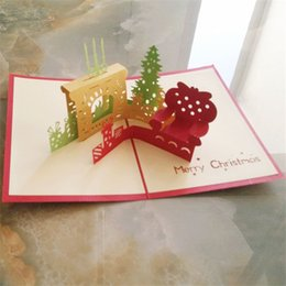 3d cards festivals UK - 3D Laser Cut Christmas Greeting Card Pop up Xmas Party Invitation Cards Fireplace Festival Tree Carving